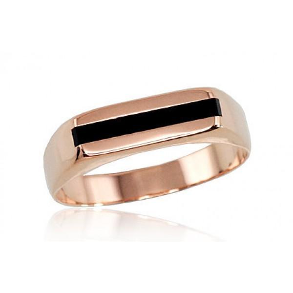 """Vīriešu zelta gredzens ar oniksu """"Barons V"""" no 585 proves sarkanā zelta"""