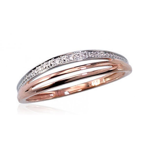 "Zelta gredzens ar briljantiem ""Zelta Raksts IV"" no 585 proves sarkanā zelta"