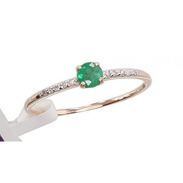 "Zelta gredzens ar briljantiem ""Smaragda Lāse"" no 585 proves sarkanā zelta"