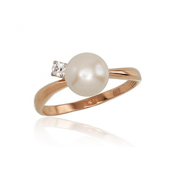 "Zelta gredzens ar pērlēm ""Galoss III"" no 585 proves sarkanā zelta"