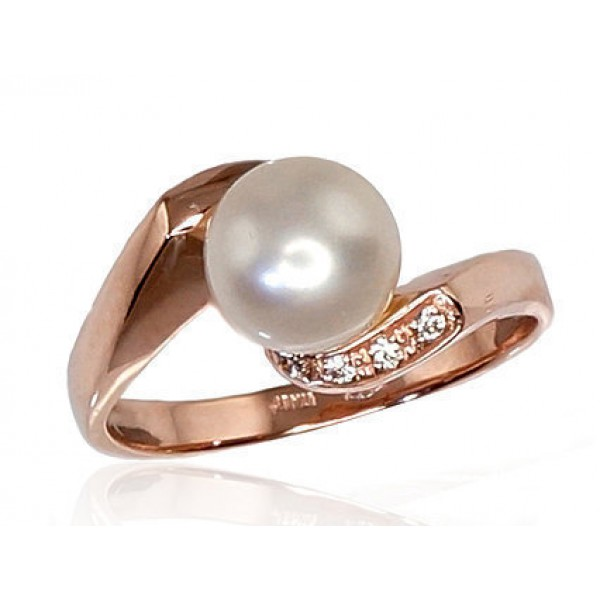 """Zelta gredzens ar pērlēm """"Dvēseles Spogulis IX"""" no 585 proves sarkanā zelta"""