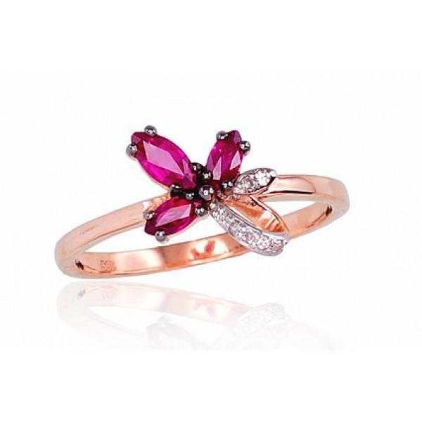 """Zelta gredzens ar briljantiem """"Kristalīts"""" no 585 proves sarkanā zelta"""