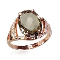 "Zelta gredzens ar dūmakaino kvarcu ""Debesu Kvarcs"" no 585 proves sarkanā zelta"