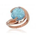 """Zelta gredzens ar topāzu """"Komēta VI"""" no 585 proves sarkanā zelta"""