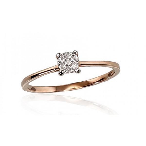 "Zelta gredzens ar briljantiem ""Solitire VI"" no 585 proves sarkanā zelta"