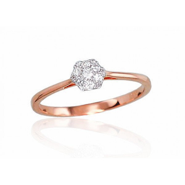 """Zelta gredzens ar briljantiem """"Grācija III"""" no 585 proves sarkanā zelta"""