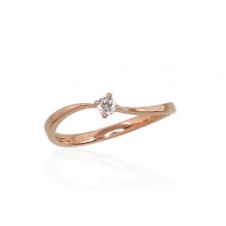 """Zelta gredzens ar briljantiem """"Komēta II"""" no 585 proves sarkanā zelta"""