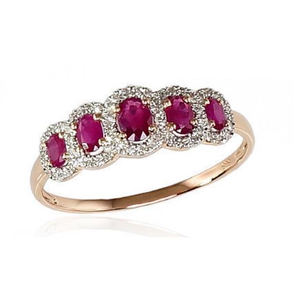 """Zelta gredzens ar briljantiem """"Dženija II"""" no 585 proves sarkanā zelta"""