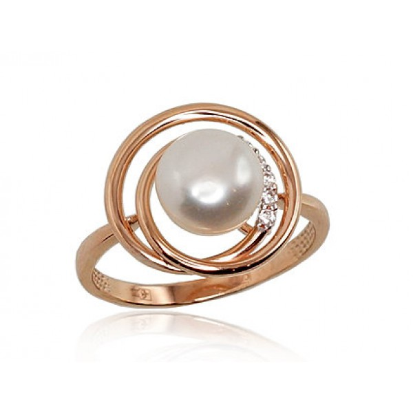 """Zelta gredzens ar pērlēm """"Galoss IV"""" no 585 proves sarkanā zelta"""