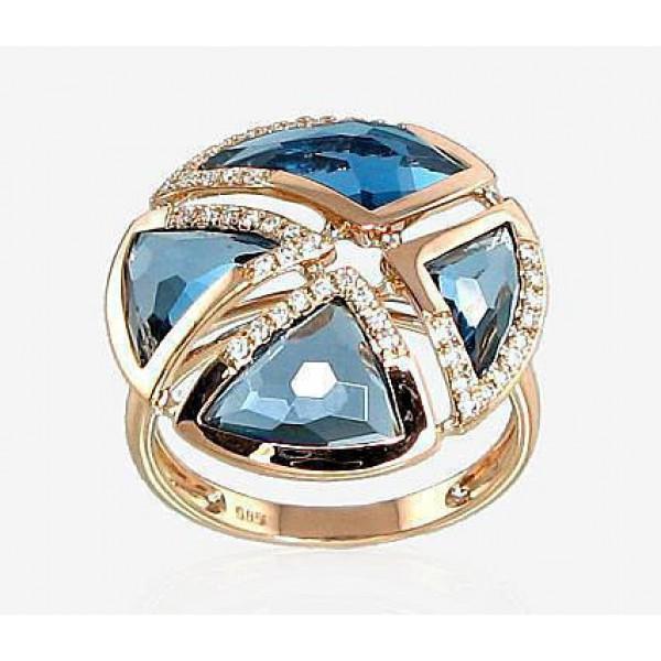"""Zelta gredzens ar briljantiem """"Andora"""" no 585 proves sarkanā zelta"""