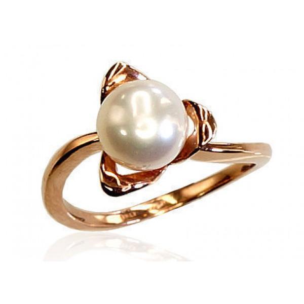 "Zelta gredzens ar pērlēm ""Meža Vijolīte"" no 585 proves sarkanā zelta"