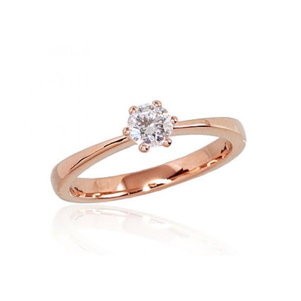 "Zelta gredzens ar briljantiem ""Solitire"" no 585 proves sarkanā zelta"