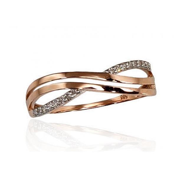 """Zelta gredzens ar briljantiem """"Zelta Vilnis II"""" no 585 proves sarkanā zelta"""