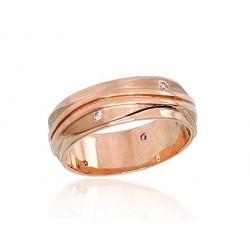 """Zelta laulības gredzens """"Harmonija IV"""" no 585 proves sarkanā zelta"""