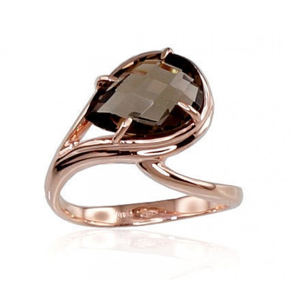 """Zelta gredzens ar dūmakaino kvarcu """"Tereza"""" no 585 proves sarkanā zelta"""