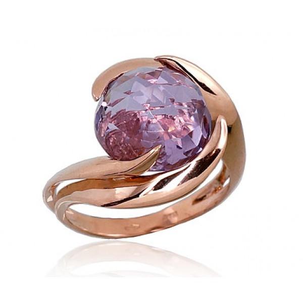 """Zelta gredzens ar ametistu """"Komēta VII"""" no 585 proves sarkanā zelta"""