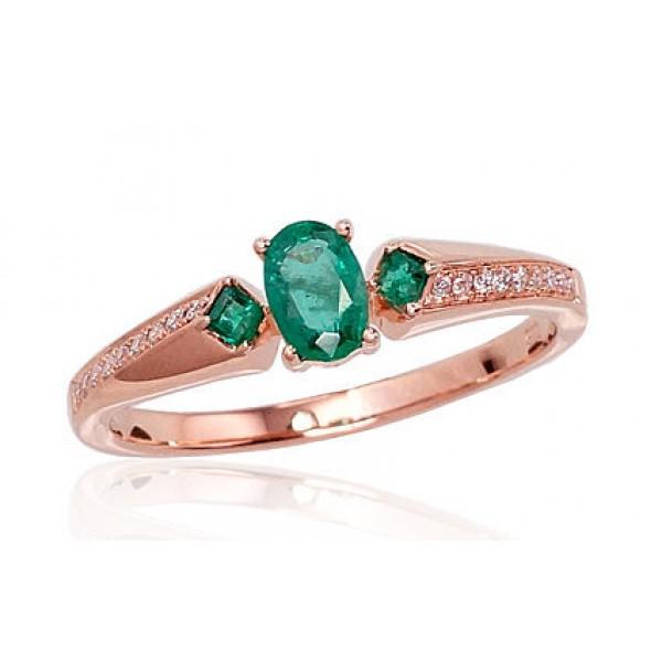 "Zelta gredzens ar briljantiem ""Misa III"" no 585 proves sarkanā zelta"