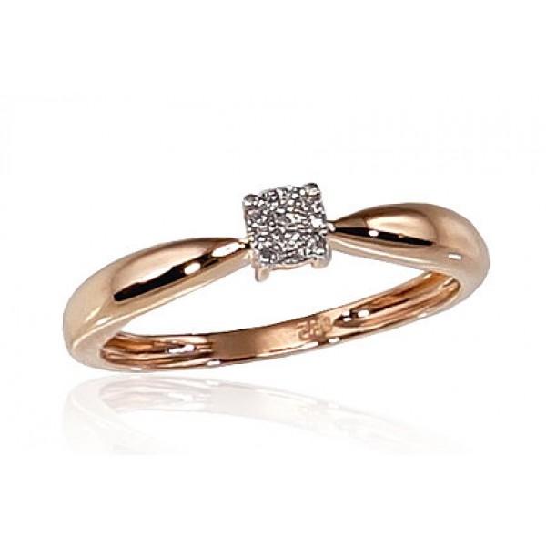 "Zelta gredzens ar briljantiem ""Solitire II"" no 585 proves sarkanā zelta"