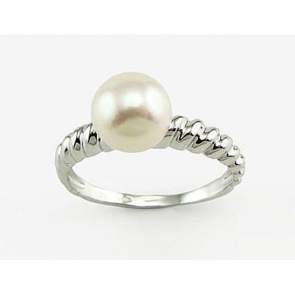 """Zelta gredzens ar pērlēm """"Dvēseles Spogulis X"""" no 585 proves baltā zelta"""