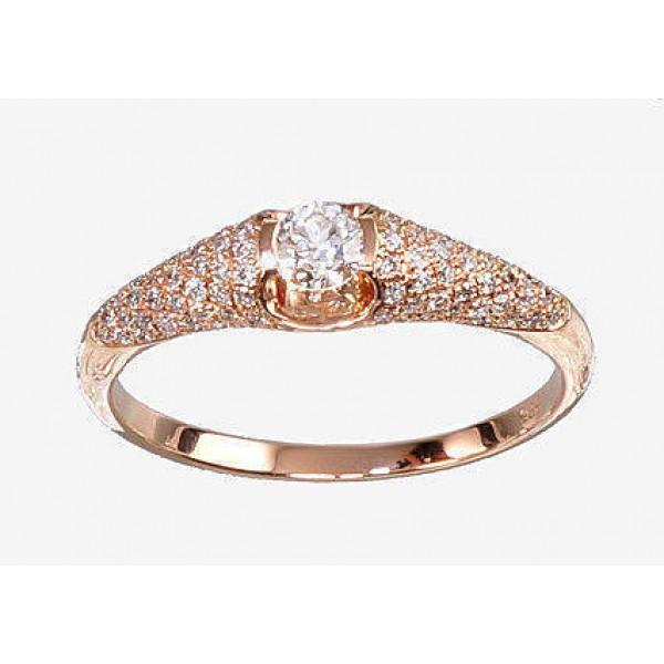"""Zelta gredzens ar briljantiem """"Debesu Velte II"""" no 585 proves sarkanā zelta"""