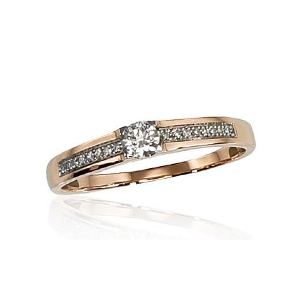 "Zelta gredzens ar briljantiem ""Malori"" no 585 proves sarkanā zelta"