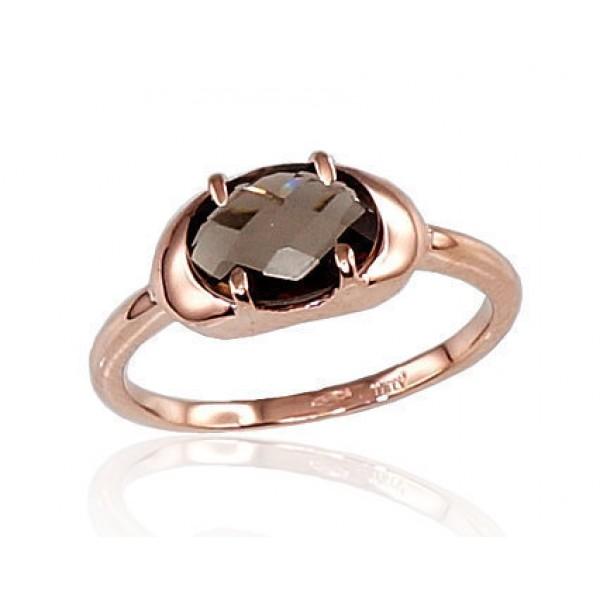 "Zelta gredzens ar dūmakaino kvarcu ""Malori VI"" no 585 proves sarkanā zelta"
