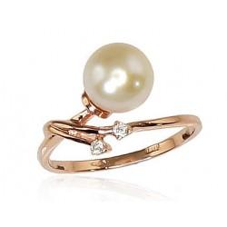 "Zelta gredzens ar pērlēm ""Dvēseles Spogulis VI"" no 585 proves sarkanā zelta"