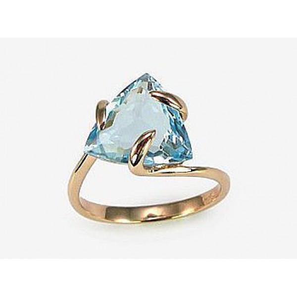"""Zelta gredzens ar topāzu """"Bermudu Trīsstūris"""" no 585 proves sarkanā zelta"""