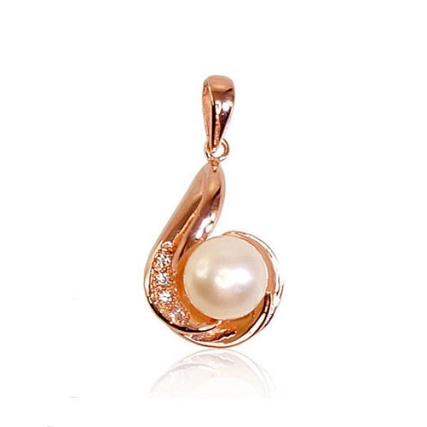 """Zelta kulons ar kultivētām pērlēm """"Galoss"""" no 585 proves sarkanā zelta"""