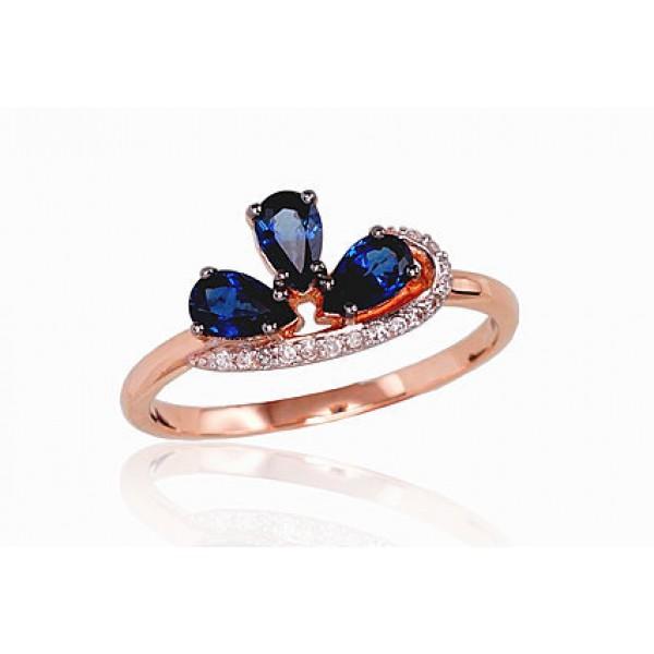 """Zelta gredzens ar briljantiem """"Impērijas Kronis"""" no 585 proves sarkanā zelta"""