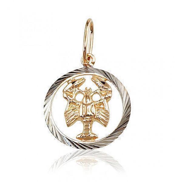 """Zelta kulons - zodiaka zīme """"Vēzis II"""" no 585 proves sarkanā zelta"""