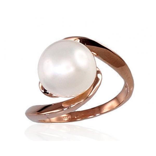 """Zelta gredzens ar pērlēm """"Galoss XII"""" no 585 proves sarkanā zelta"""