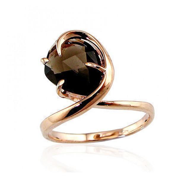 "Zelta gredzens ar dūmakaino kvarcu ""Bezgalība"" no 585 proves sarkanā zelta"