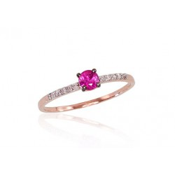 """Zelta gredzens ar briljantiem """"Jaunā Klasika V"""" no 585 proves sarkanā zelta"""