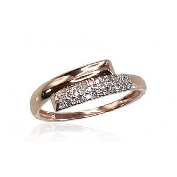 """Zelta gredzens ar briljantiem """"Brigita II"""" no 585 proves sarkanā zelta"""