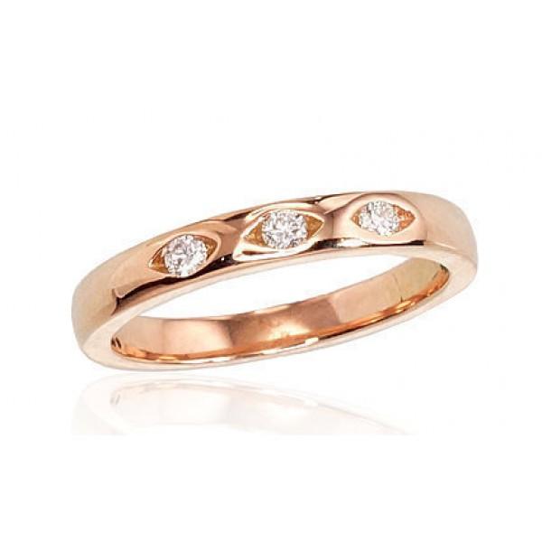 """Zelta gredzens ar briljantiem """"Tokija II"""" no 585 proves sarkanā zelta"""