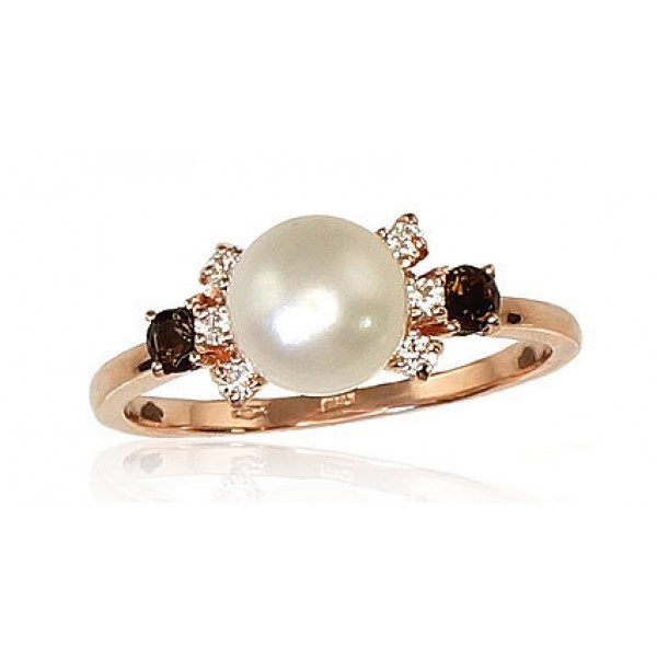 "Zelta gredzens ar pērlēm ""Notika II"" no 585 proves sarkanā zelta"
