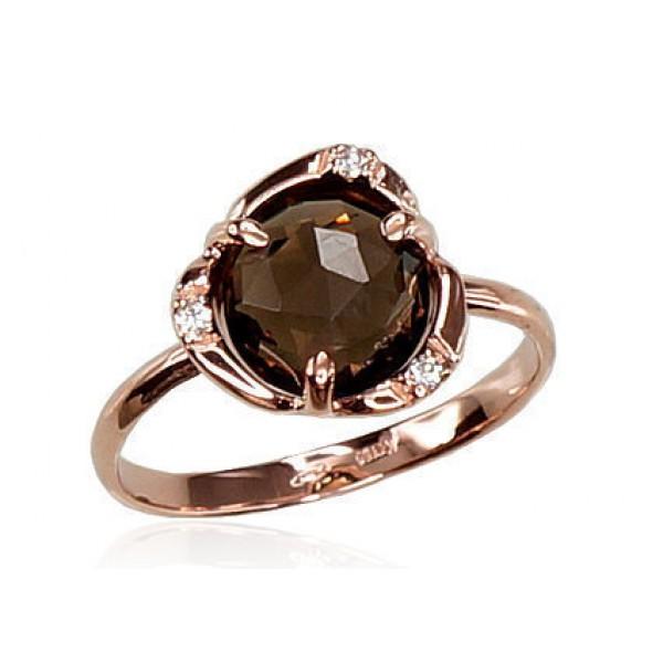 """Zelta gredzens ar dūmakaino kvarcu """"Meža Vijolīte"""" no 585 proves sarkanā zelta"""