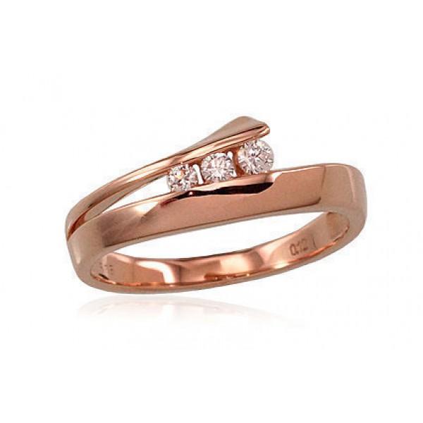 """Zelta gredzens ar briljantiem """"Komēta"""" no 585 proves sarkanā zelta"""
