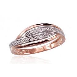 """Zelta gredzens ar briljantiem """"Zelta Raksts III"""" no 585 proves sarkanā zelta"""