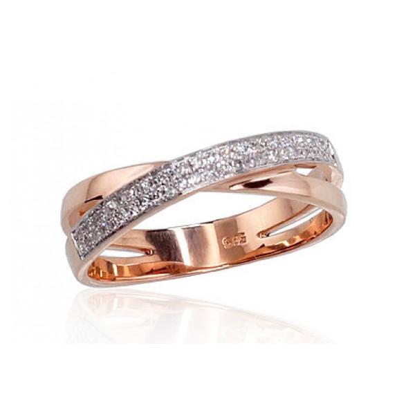 """Zelta gredzens ar briljantiem """"Džoanna II"""" no 585 proves sarkanā zelta"""