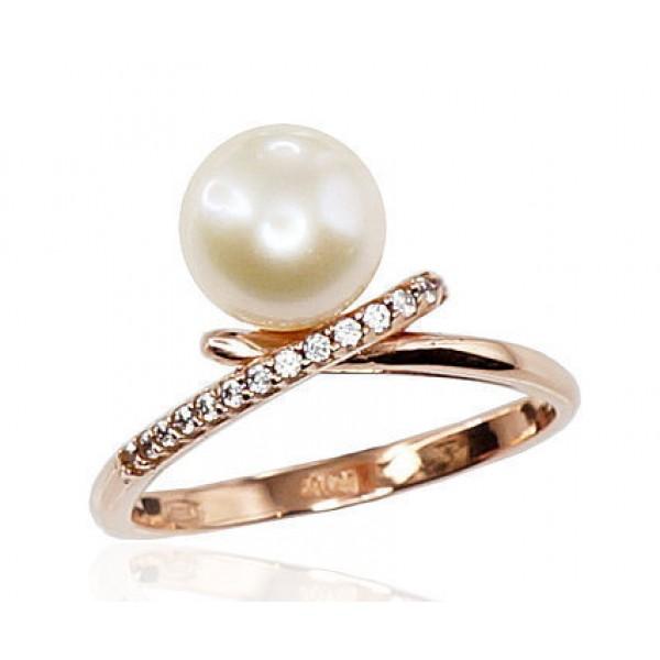 """Zelta gredzens ar pērlēm """"Galoss V"""" no 585 proves sarkanā zelta"""