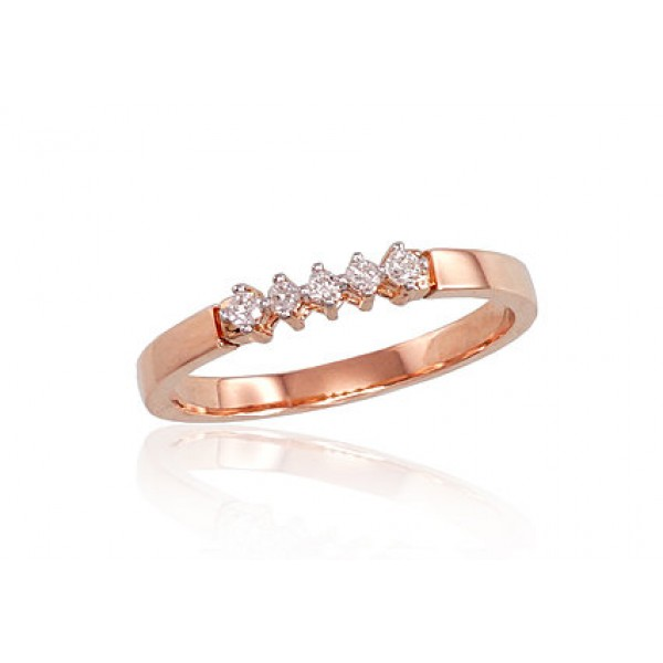 "Zelta gredzens ar briljantiem ""Zelta Mīlestība III"" no 585 proves sarkanā zelta"