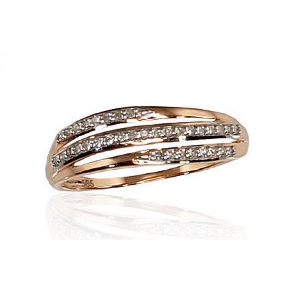 "Zelta gredzens ar briljantiem ""Zelta Raksts IX"" no 585 proves sarkanā zelta"