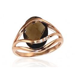 """Zelta gredzens ar dūmu kvarcu """"Parīze"""" no 585 proves sarkanā zelta"""