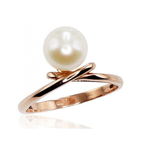 "Zelta gredzens ar pērlēm ""Galoss VI"" no 585 proves sarkanā zelta"