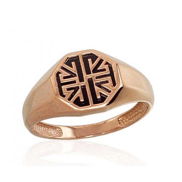 """Vīriešu zelta gredzens ar oniksu """"Barons II"""" no 585 proves sarkanā zelta"""