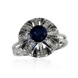 """Zelta gredzens ar briljantu """"Karaliskais Safīrs"""" no 585 proves baltā zelta"""