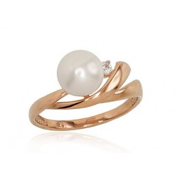 "Zelta gredzens ar kultivētām pērlēm ""Galoss II"" no 585 proves sarkanā zelta"
