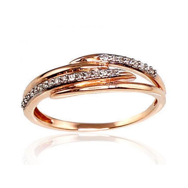 "Zelta gredzens ar briljantiem ""Zelta Vilnis X"" no 585 proves sarkanā zelta"